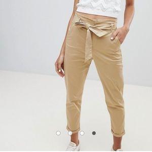 Camel Plain Tie high waisted pants